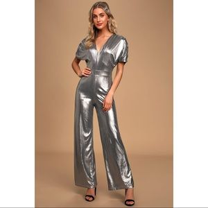 NEW Lulu's Silver Metallic Wide Leg Jumpsuit